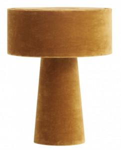 Veioza galbena din catifea si fier 31 cm Mushroom Mustard Nordal