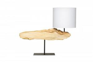 Veioza maro/bej din lemn si bumbac 52 cm Organic Art Invicta Interior