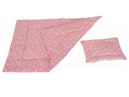 Lenjerie MyKids Crown Pink 3 Piese 140x70