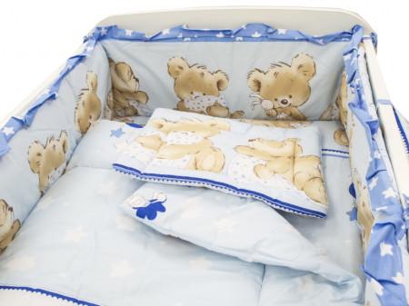 Lenjerie MyKids Teddy Hug Blue M1 4 Piese 140x70