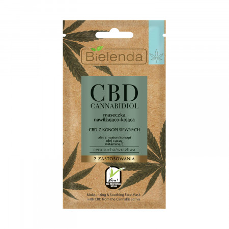 CBD CANNABIDIOL Masca de fata hidratanta si calmanta cu canabidiol CBD pentru tenul uscat si sensibil 8g