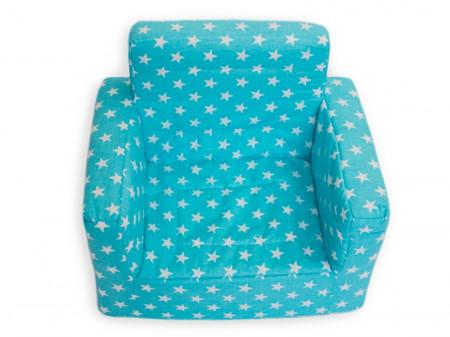 Fotoliu din burete pentru copii MyKids Stelute Turquoise