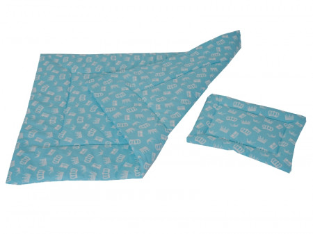 Lenjerie MyKids Crown Turquoise 3 Piese 120x60