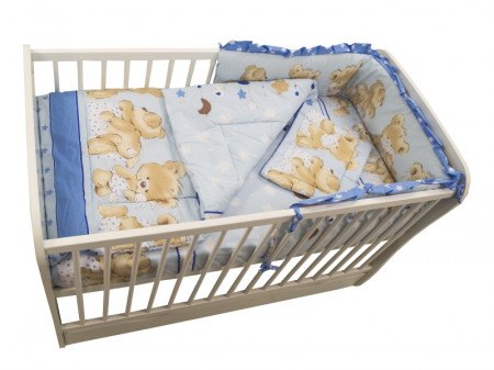 Lenjerie MyKids Teddy Hug Blue M1 4 Piese 120x60