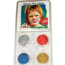 Set 4 culori glitter (sclipici) pentru pictura pe fata model Clovn : argintiu, rosu, albastru, auriu