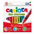 Creioane cerate, rotunde, lavabile, D- 8mm, 12 culori/cutie, CARIOCA Wax Crayons