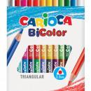 Creioane colorate CARIOCA BiColor, triunghiulare, bicolore, 12 culori/cutie
