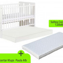 Patut cu sertar KLUPS Paula Alb + Saltea 10 MyKids Confort II
