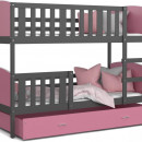 Patut tineret MyKids 2 in 1 Tami Color Grey/Pink-190x80