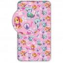 Cearsaf de pat cu elastic Paw Patrol Pink 90x200 cm SunCity BRM005044