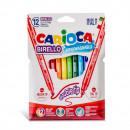 Carioca super lavabila, cu 2 capete, varf subtire/gros, 12 culori/cutie, CARIOCA Birello