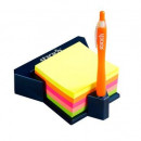 "Cub autoadeziv cu suport, 76 x 76 mm, 400 file, Stickn - 5 culori neon"""