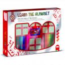 Set educativ cu stampile Alfabet 46 piese, 26 stampile, tus, 18 carioci si caiet cu activitati Multiprint MP1941