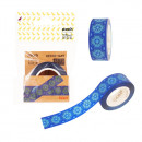 """Banda pentru decorat in rola, 16 mm x 10 m, Stickn - design albastru"""""""