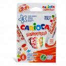 Set 6 markere lavabile, cu 6 stampile diverse forme, cutie carton, CARIOCA Stamperello