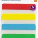 Stick index plastic transp. cu margine color 38 x 76 mm, 4 x 20 file/set, Stickn - 4 culori neon""