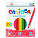 Creioane colorate CARIOCA, hexagonale, 24 culori/cutie