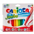 Carioca super lavabila, varf gros - 6mm, 12 culori/cutie, CARIOCA Jumbo