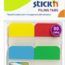 Stick index plastic transp. cu margine color 38 x 25 mm, 4 x 20 file/set, Stickn - 4 culori neon""