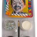 Culori pentru face paint model Zebra. Set 4 pastile pictura pe fata: culori alb, gri, negru si 1 glitter gri