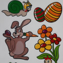 Decoratiune fereastra - iepuras,melc,broscuta,puisor si oua decorate pentru Paste
