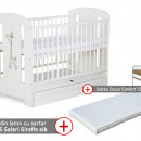 Patut cu sertar KLUPS Safari Giraffe Alb + Saltea 8 Confort II