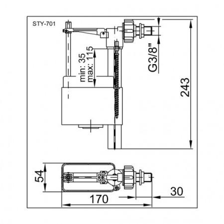 Mecanism de Incarcare WC cu Racord Plastic 3/8