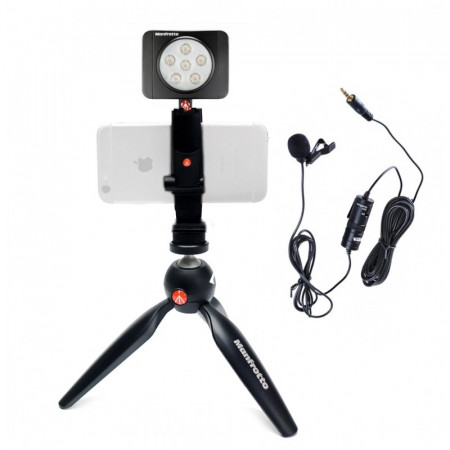 Manfrotto Kit pentru Vlogger LED6 Minitrepied cu lavaliera