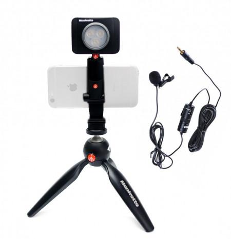 Manfrotto Kit pentru Vlogger LED3 Minitrepied cu lavaliera