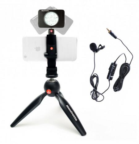 Manfrotto Kit pentru Vlogger LED8 Minitrepied cu lavaliera