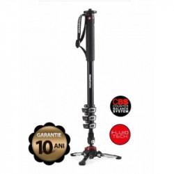 Pachet Manfrotto MVMXPROA4 Monopied fluid + Manfrotto MVH500AH cap trepied video