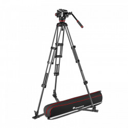 Manfrotto MVK504XTWINGC Kit Trepied video Carbon cu spreader de podea