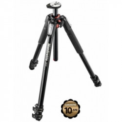 Pachet Manfrotto 055XPRO3 trepied foto aluminiu + Manfrotto MVH502AH cap video flat base