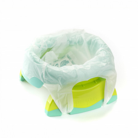 Oliță portabilă pliabilă 2 în 1 Potette Plus culoare turquoise punga biodegradabila