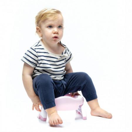 Oliță portabilă pliabilă 2 în 1 Potette Plus culoarea roz cu alb copil