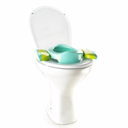 Oliță portabilă pliabilă 2 în 1 Potette Plus culoare turquoise ca reductor pentru toaleta
