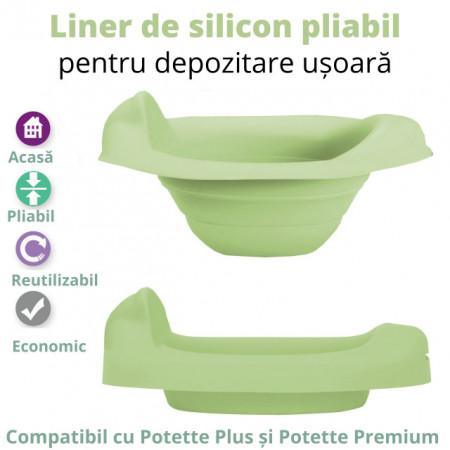 Liner reutilizabil silicon verde pentru olita portabila Potette Plus și Potette Premium 5