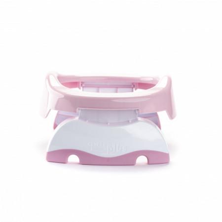 Oliță portabilă pliabilă 2 în 1 Potette Plus roz cu alb spate