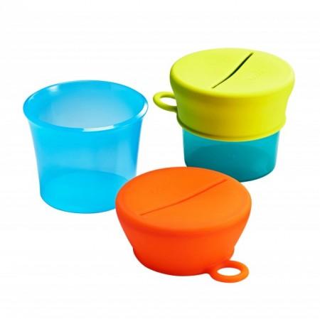 Boon, Set 2 caserole cu 2 capace de silicon, Snug snack, nu contine ftalati