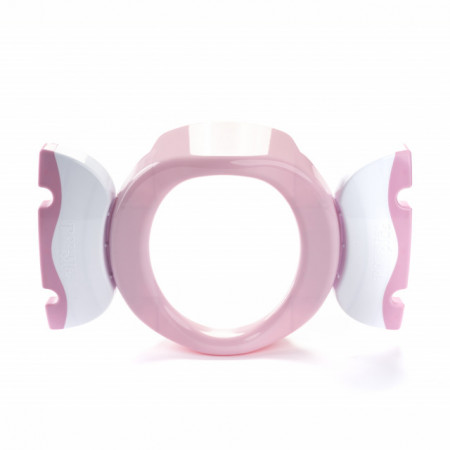 Oliță portabilă pliabilă 2 în 1 Potette Plus roz cu alb sus