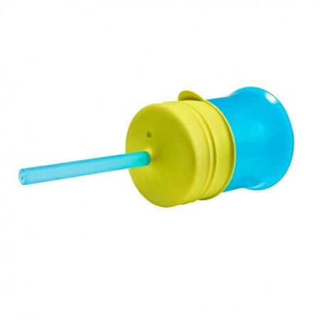 BOON - SNUG straw - set 6 paie de silicon cu supapa + perie de curatat