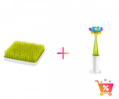PACHET PROMO - Tava GRASS - suport pentru uscat (verde) + Perie de silicon cu rezervor FORB+