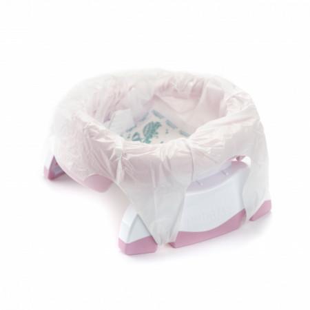 Oliță portabilă pliabilă 2 în 1 Potette Plus roz cu alb punga biodegradabila