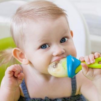 PACHET PROMO - PULP - dispozitiv de hranire din silicon culoare albastru+verde + Lingurita SQUIRT cu rezervor culoare verde