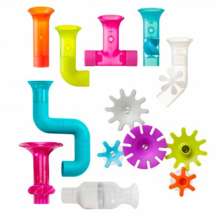 Boon, Jucărie de baie bebeluș, set 8: Pipes, Tubes, Cogs (roti zimtate), fara ftalati