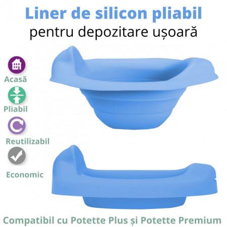 Liner reutilizabil silicon albastru pentru oliță portabilă Potette Plus și Potette Premium 4