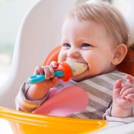Tacâm bebeluș, BOON, PULP - hranire bebe, silicon, albastru-portocaliu