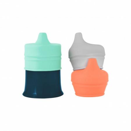 Boon, Pahar bebeluș, 3 capace silicon cu cioc Snug Spout, nu contine ftalati