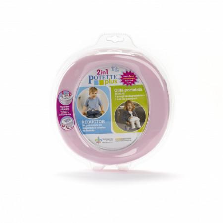 Oliță portabilă pliabilă 2 în 1 Potette Plus roz cu alb fata