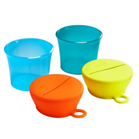 Set caserole cu capace de silicon, SNUG snack, BOON